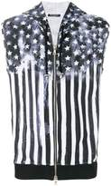 Balmain American flag print sleeveless hoodie