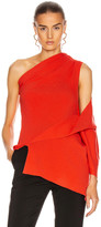 Monse One Shoulder Drape Knit Top in Persimmon | FWRD