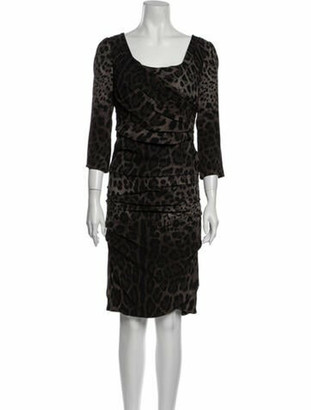 Dolce & Gabbana Silk Knee-Length Dress Black