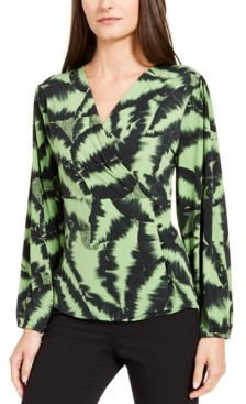 Alfani Surplice-Neck Printed Top, Created for Macy's