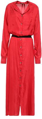 Ann Demeulemeester Ariana Belted Satin Maxi Shirt Dress