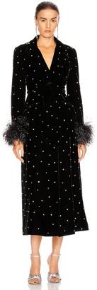 Miu Miu Velvet Embroidered Long Jacket in Black | FWRD