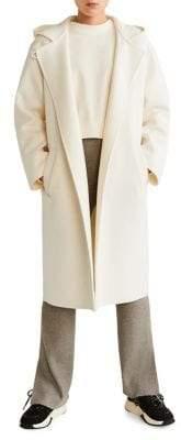 MANGO Wool-Blend Hooded Coat