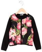 Dolce & Gabbana Girls' Floral Print Silk Cardigan