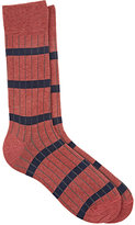 Barneys New York MEN'S STRIPED COTTON MID-CALF SOCKS-PINK