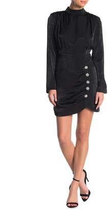 Do & Be Button Trim Back Cutout Mini Dress