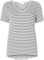 Vila **Vila Navy and White Striped V-Neck T-Shirt