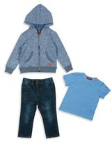 7 For All Mankind Baby's & Toddler Boy's Three-Piece Hoodie, Tee & Straight-Leg Jeans Set