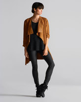 Eileen Fisher Draped Suede Jacket, Printed Short-Sleeve Top, Soft Skinny Jeans & Studded Leather Belt, Women's