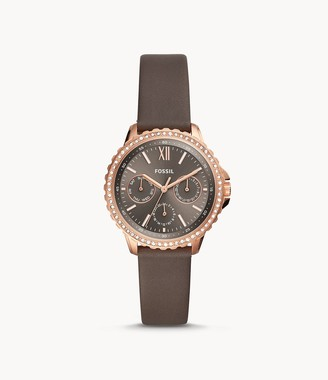 Fossil Izzy Multifunction Gray Leather Watch jewelry