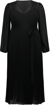 Forever New Penelope Curve Pleated Wrap Dress - Black - 16