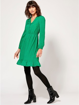 M&Co Spot print peplum hem dress