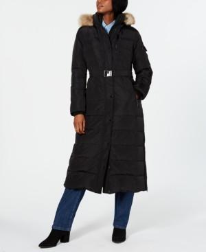 Michael Kors Michael Plus Size Hooded Faux-Fur-Trim Maxi Coat