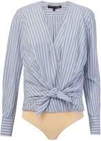 Veronica Beard Diana Tie Shirt Bodysuit
