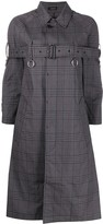 R 13 chest-belt check print coat