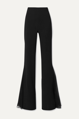 Cushnie Silk Chiffon-trimmed Stretch-cady Flared Pants - Black