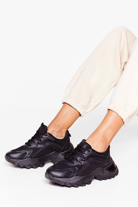 Nasty Gal Womens PU mixed fabric D ring lace up trainers - Black - 3