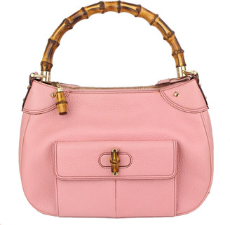 Gucci Pink Pebbled Leather Bamboo Top Handle Bag