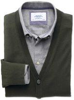Charles Tyrwhitt Dark Green Merino Wool Cardigan Size Large