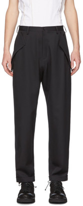 Sulvam Black Wool No Tuck Trousers