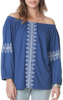 Chaps Petite Embroidered Peasant Top