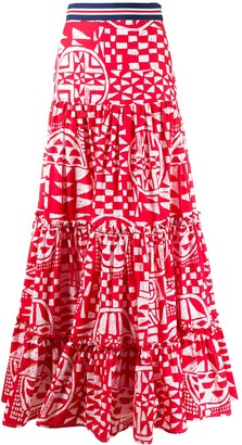 Stella Jean Tiered Geometric Print Skirt