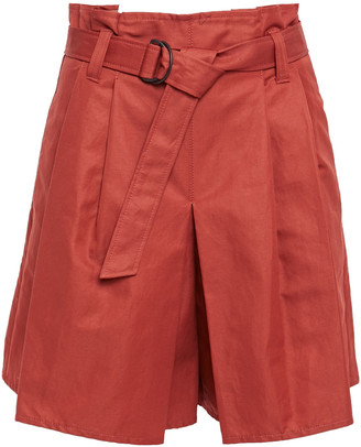 Brunello Cucinelli Pleated Cotton And Ramie-blend Twill Shorts