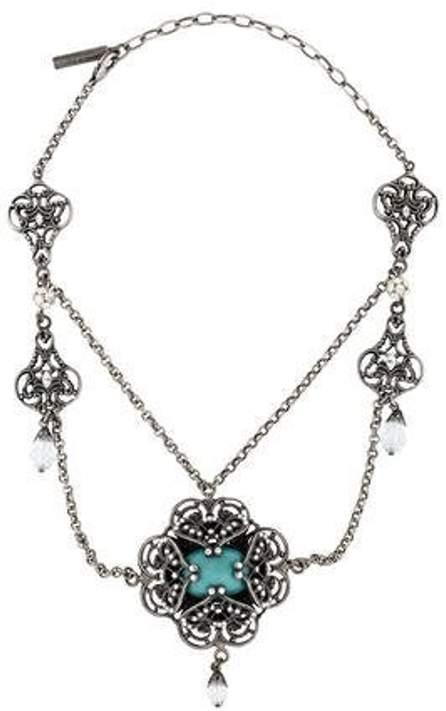 Dolce & Gabbana Draped Resin & Crystal Collar Necklace Silver Draped Resin & Crystal Collar Necklace