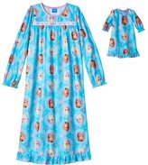"Disney Girl's Nightgown Matching 1"" Doll Gown Frozen Anna Elsa 6"