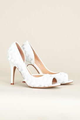 Wallis **White Textile Covered Court Shoe