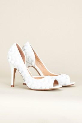 Wallis **White Textile Covered Court Shoe