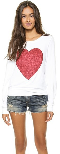 Wildfox Couture Sparkle Heart Baggy Beach Top