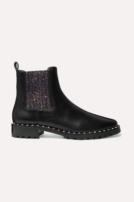Sophia Webster Bessie Studded Leather And Glittered Stretch-knit Chelsea Boots - Black