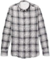 Officine Generale Button-down Collar Checked Cotton-blend Flannel Shirt - Gray