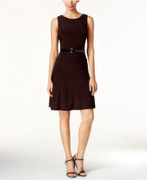 Tommy Hilfiger Polka-Dot Belted Fit & Flare Dress