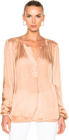 Raquel Allegra Liquid Satin Ribbon Placket Blouse