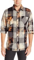 Akademiks Men's Viking Bleach Splatter Buffalo Check Shirt, Grey, 2X-Large
