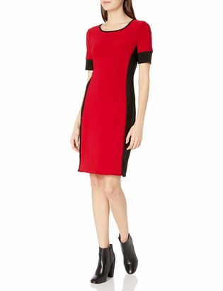 Star Vixen Women's Short Sleeve Short Ity Knit Bodycon Dress with Colorblock Contrast Sleeve Cuffs and Slimming Side Panels