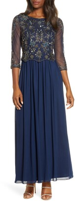 Pisarro Nights Beaded Popover Bodice Gown