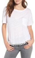 Rails Women's Billie Pompom Trim Linen Blend Tee