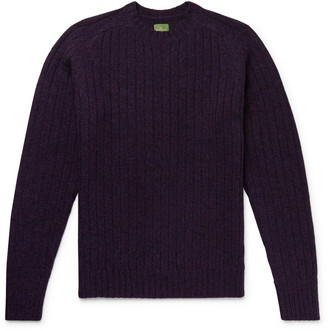 Melange Home Slim-Fit Ribbed Shetland Wool Sweater