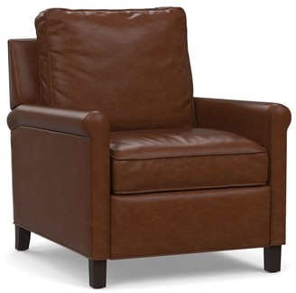 Pottery Barn Tyler Leather Roll Arm Recliner