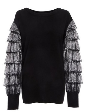 Dorothy Perkins Womens *Quiz Black Knitted Lace Sleeve Jumper, Black