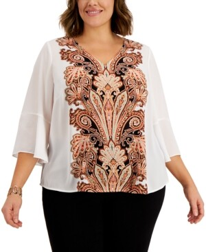 JM Collection Plus Size Perla Printed-Front Ruffle-Sleeve Top, Created for Macy's