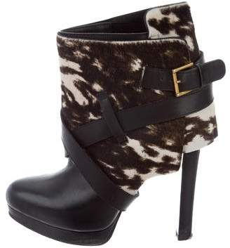 Alexander McQueen Ponyhair Leather-Trimmed Ankle Boots