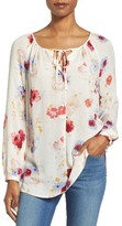 Lucky Brand Women's Floral Print Peasant Blouse