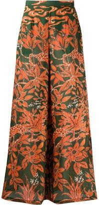 L'Autre Chose Silk Floral Print Wide-Leg Trousers