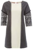 White Stuff Jacquard Panel Jersey Tunic Top, Black