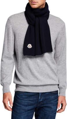 Moncler Men's Wool Logo-Patch Scarf