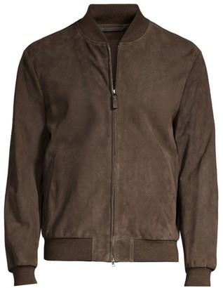 Brioni Perforated Leather Bomber Jacket